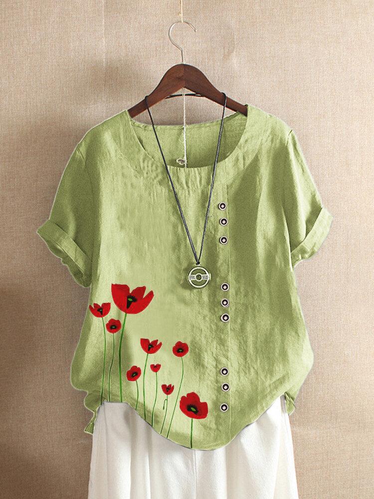 O-neck Flowers Print Button Plus Size Casual T-shirt