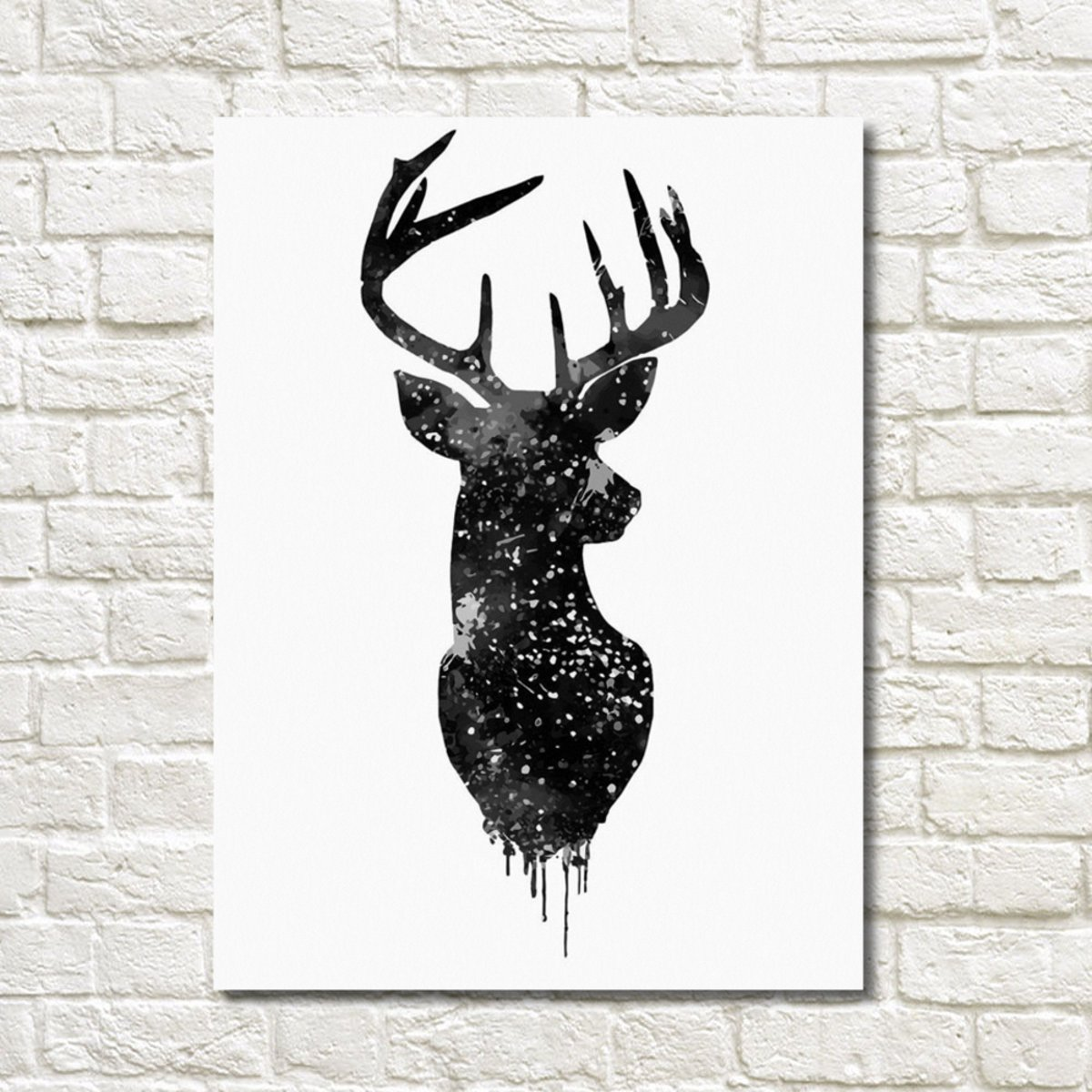 30*40cm Deer Head Animal Canvas Painting Poster Watercolor Modern Living Room Home Decor
