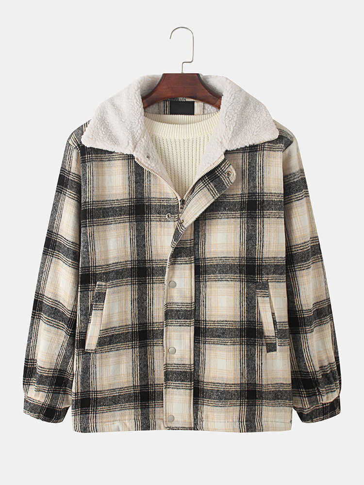 Mens Plaid Woolen Lined Thick Zipper Winter Plus Size Casual Jackets