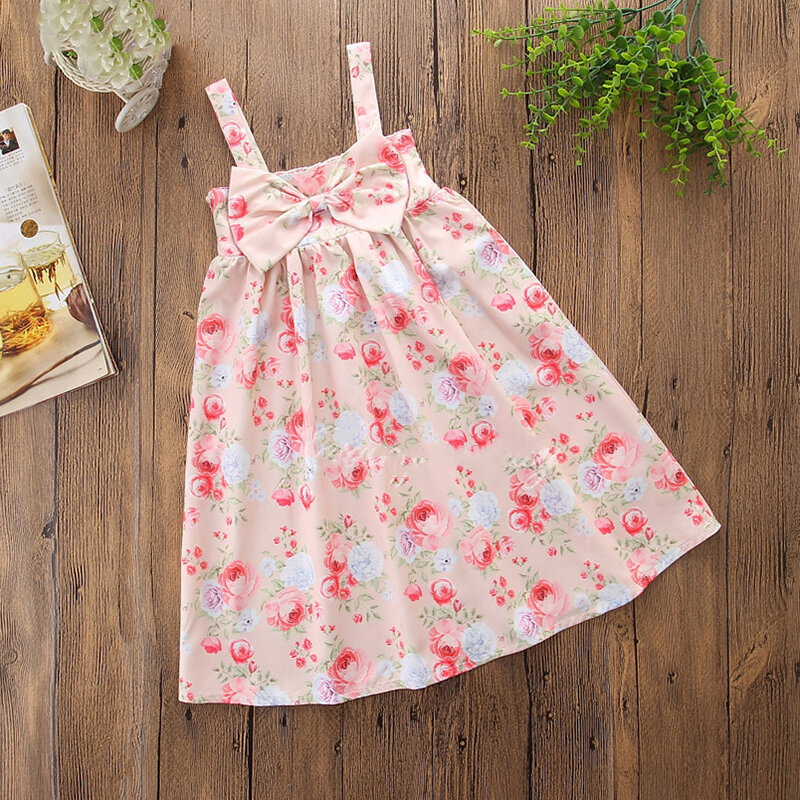 Floral Toddlers Girls Kids Sleeveless Princess Strap Bow Dresses