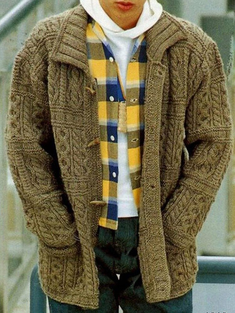 Mens Solid Color Cable Knitting Lapel Casual Toggle Cardigans