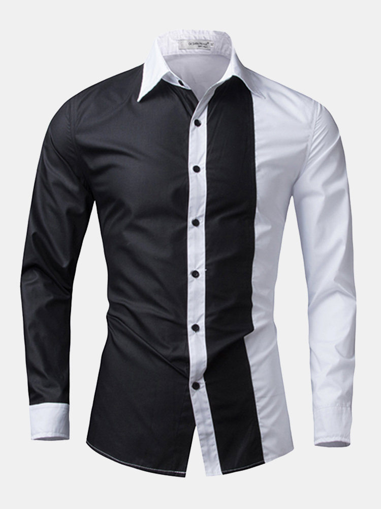 8482fdd2 Designer Fashion Casual Stitching Slim Fit Designer Shirts for Men - NewChic