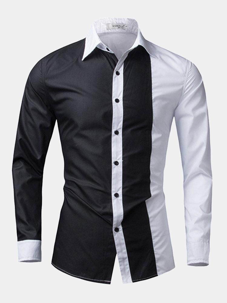 15e8156b114bd3 Designer Fashion Casual Stitching Slim Fit Designer Shirts for Men - NewChic