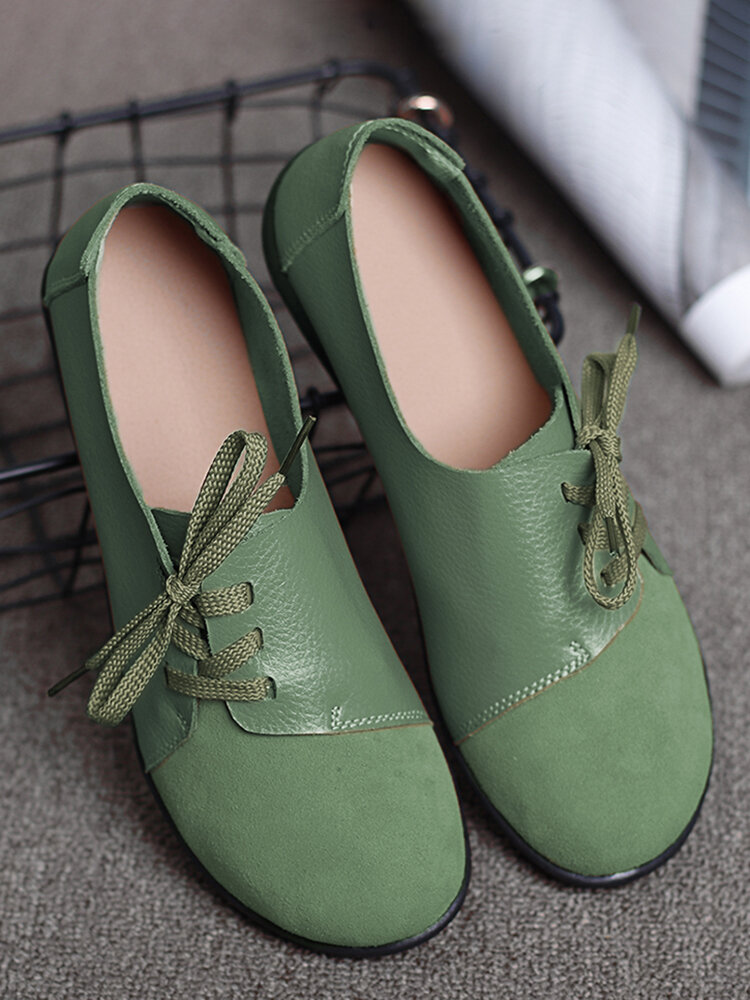 LOSTISY Large Size Women Casual Soft Lightweight Splicing Leather Lace Up Flats Loafers