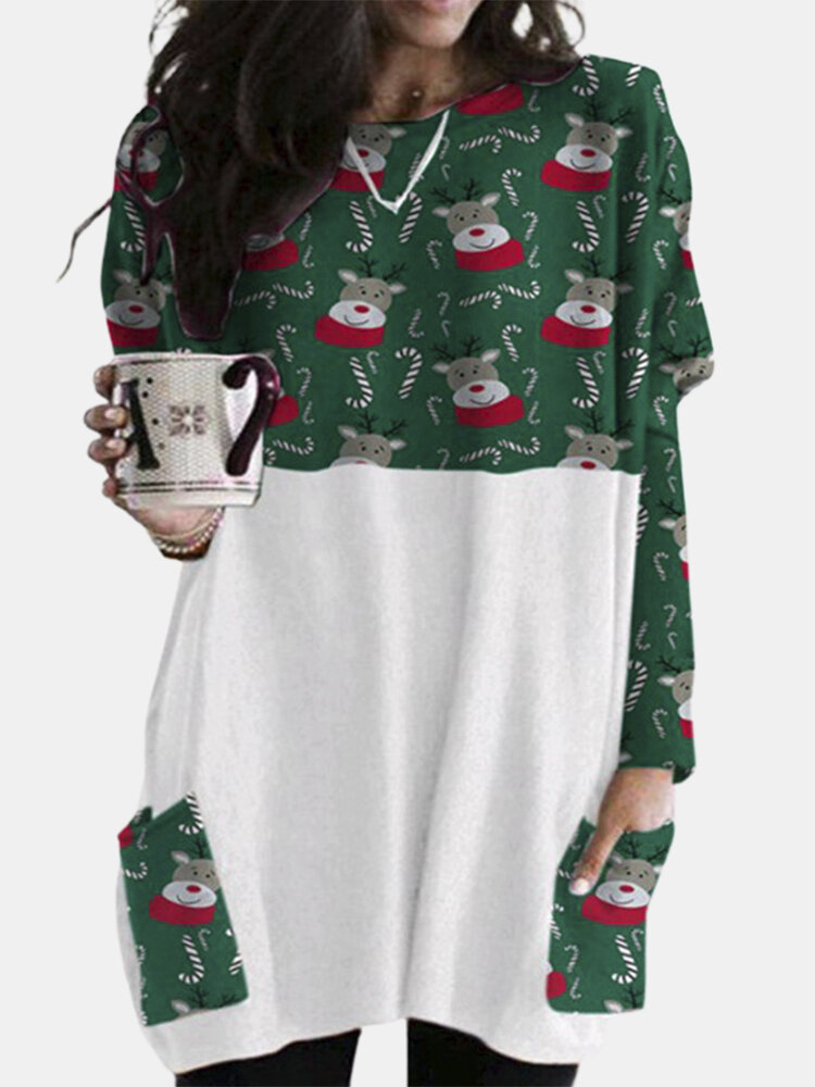 Christmas Print Patchwork Pocket Long Sleeve Casual Blouse For Women