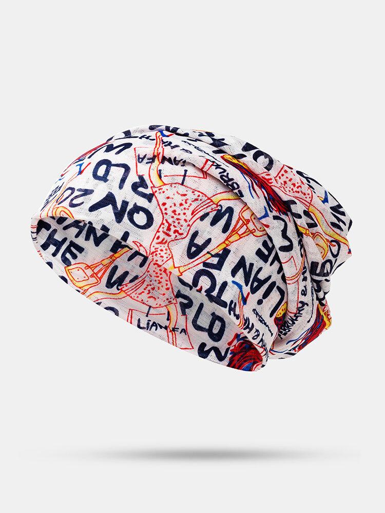 Men's Women's Breathable Printed Silk Cap Cancer Cap Casual Beanie Hat