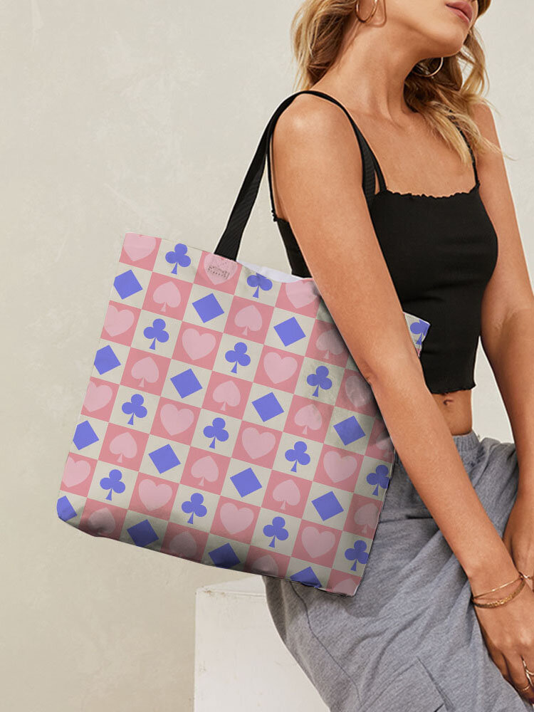 Stylish Canvas Checkerboard Playing Card Combination Pattren Large Capacity Tote