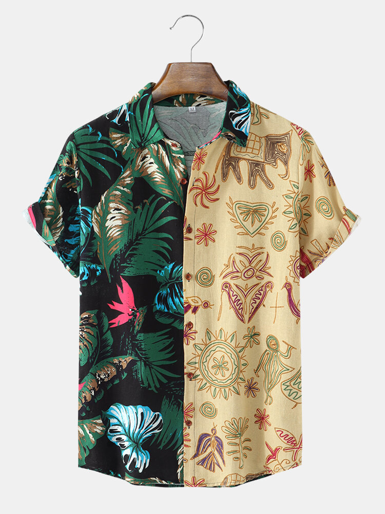 Mens Tropical Leave Print Patchwork Tribal Pattern Short Sleeve Holiday Shirt