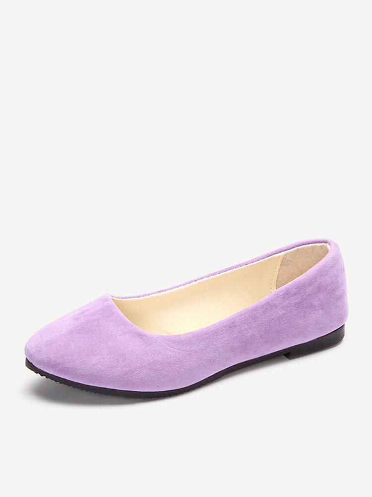 Больщой Размер Замша Candy Color Сплошной Оттянутый Носок Лёгкий Без Шнуровки Плоские Обуви