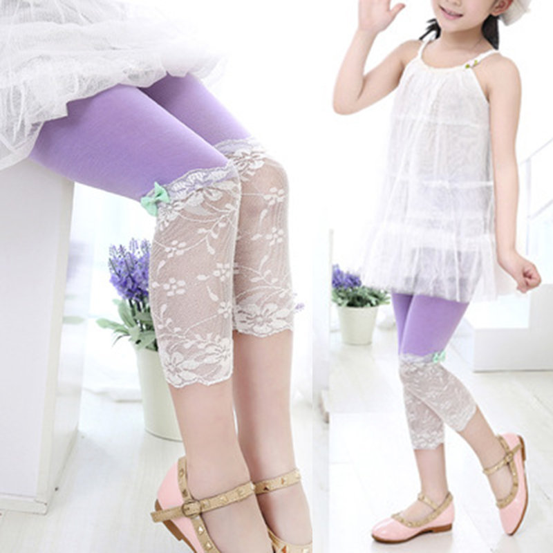 Lace Bow Knot Girls Comfy Leggings For 4-13 Years
