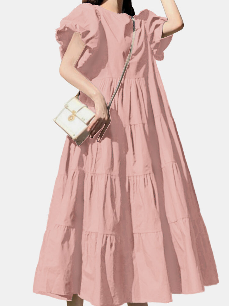 Einfarbig Short Puff Sleeve Plissee Casual Loose Kleid