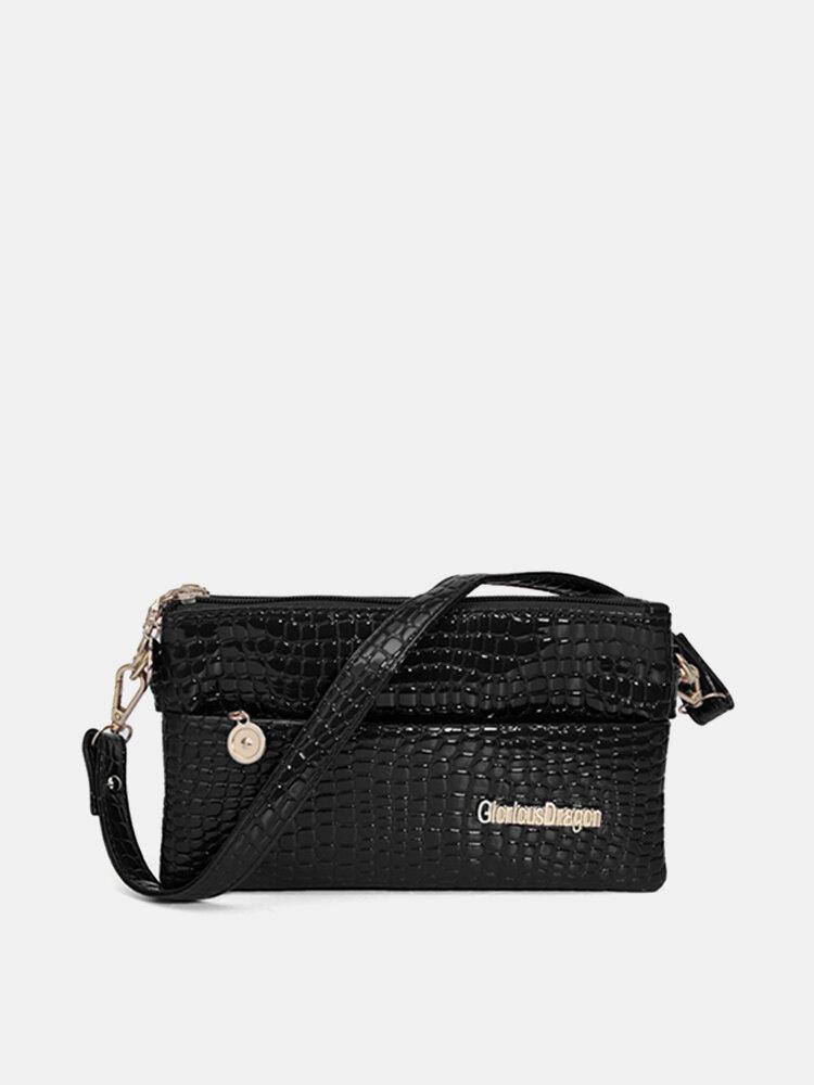 Women Crocodile Grain Elegant Three Zipper Crossbody Bags Leisure Shoulder Bags
