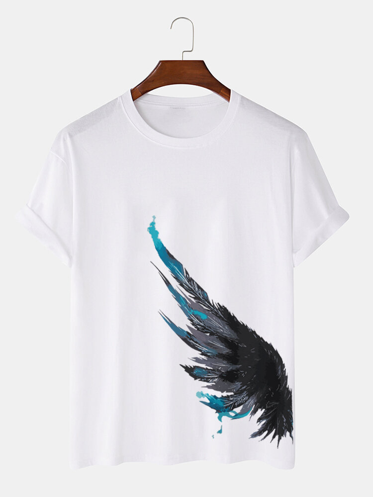 Mens Ink Feather Side Print Street 100% Cotton Short Sleeve T-Shirts