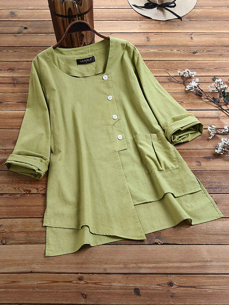 Asymmetrical Solid Color Long Sleeve Casual Blouse For Women