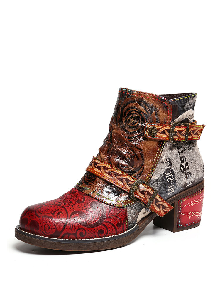 SOCOFY Embossed Rose Genuine Leather Splicing Low Heel Ankle Boots