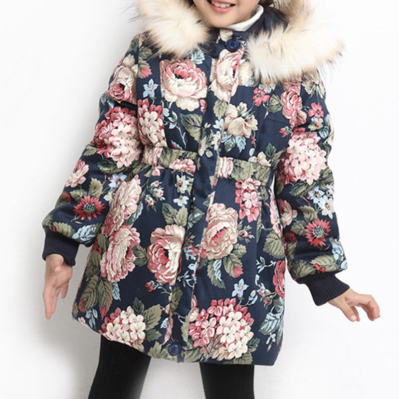 Floral Print Girls Thick Warm Coat With Big Fur Hat For 4Y-15Y