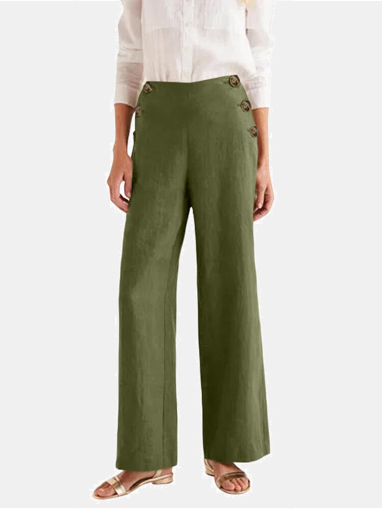 Solid Color Front Button High Waist Casual Pants with Pocket