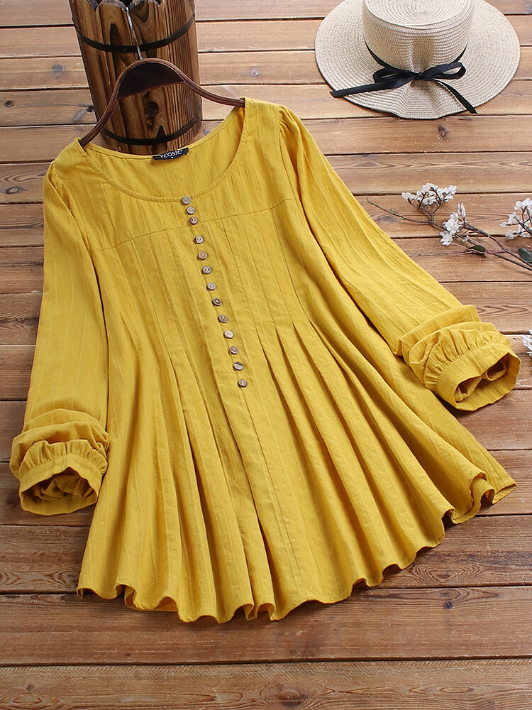 Casual Solid Color Button O-neck Pleated Long Sleeve Blouse