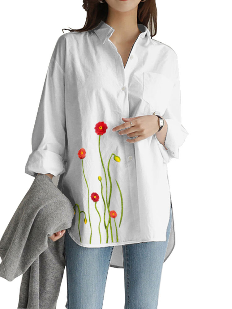Flower Embroidery Button Splited Casual Shirt For Women