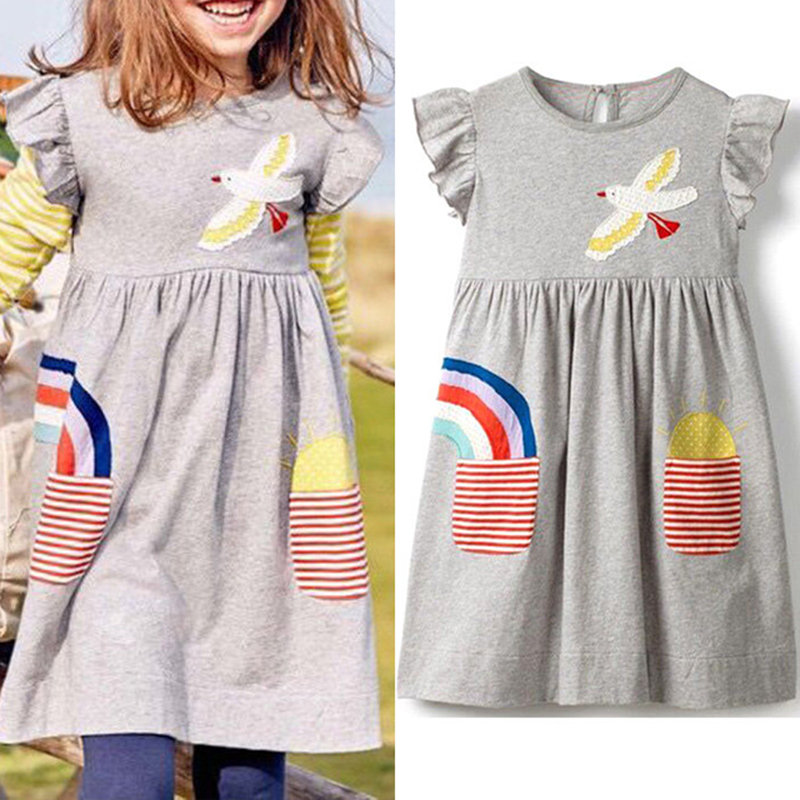 Cute Birds Flowers Embroidery Toddlers Girls Casual Summer Print Cotton Dresses