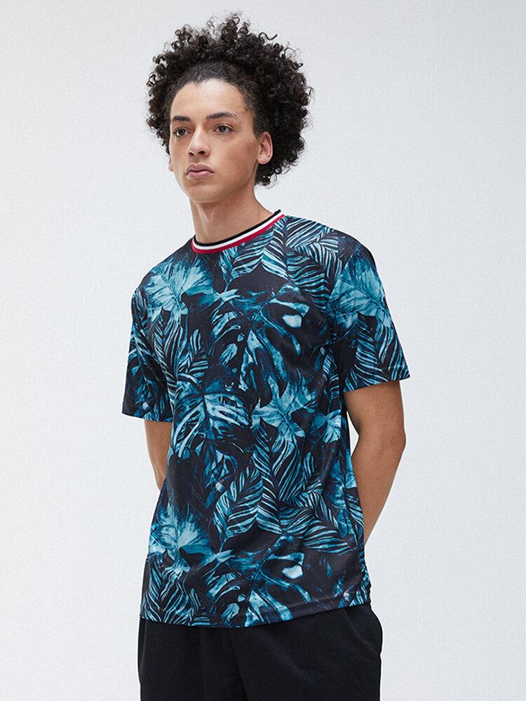 Mens Tropical Plant Printed Short Sleeve Crew Neck T-Shirt