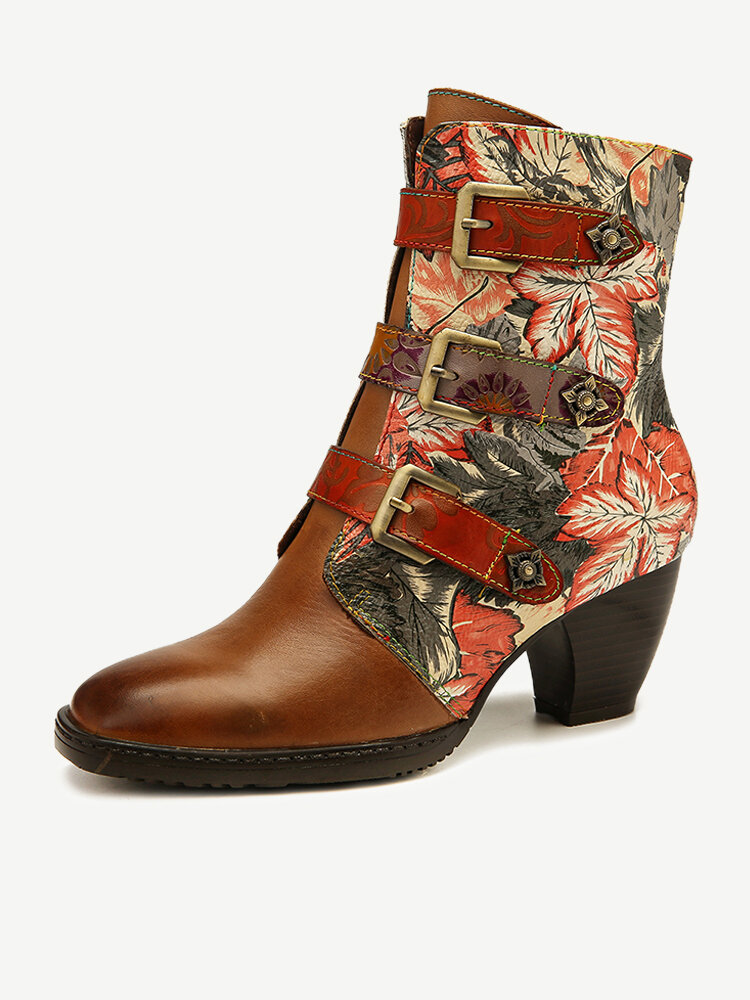 SOCOFY Women Genuine Leather Retro Colorful Leaves Pattern Metal Buckle Zipper Boots