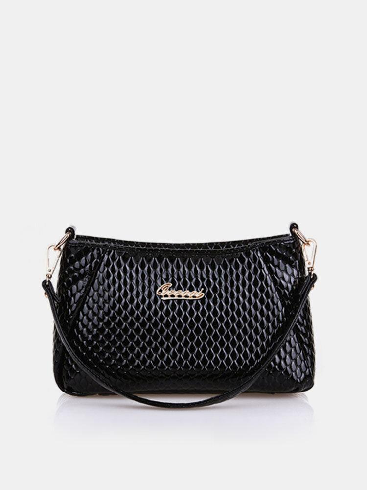 Women Pu Crocodile Crossbody Bag Shoulder Bag Shopping Bag