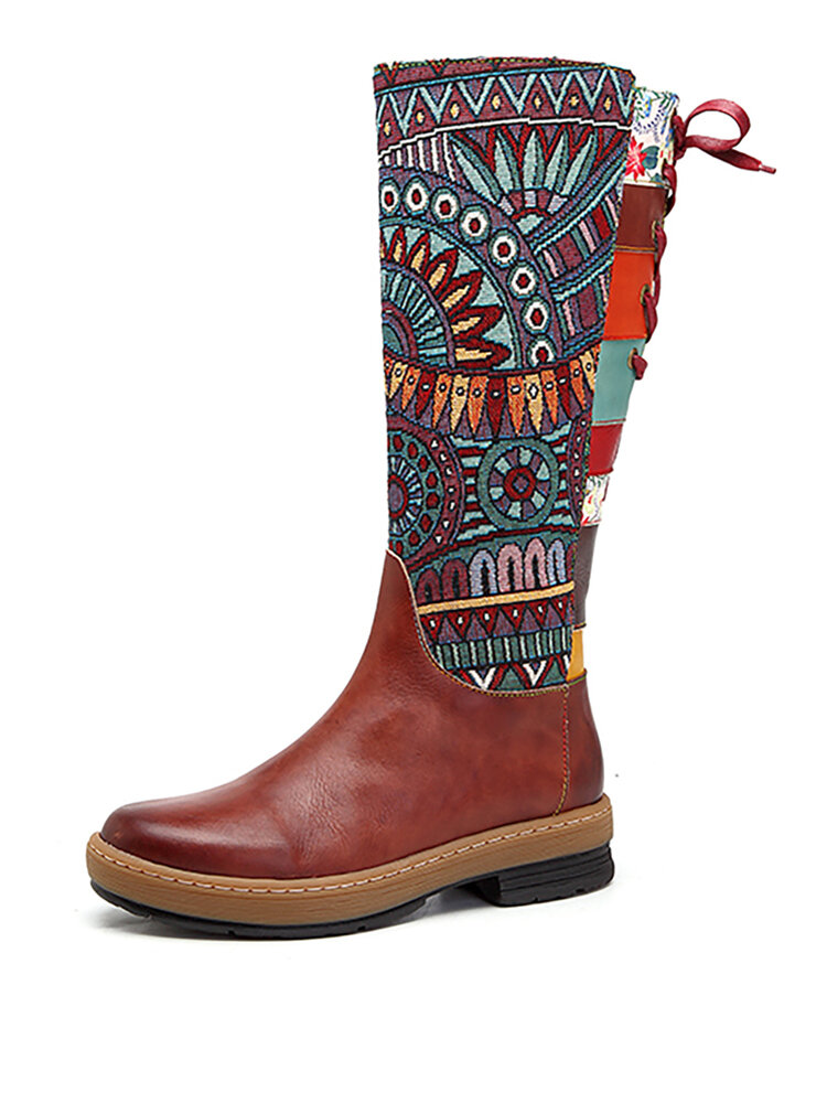 SOCOFY Bohemian Splicing Pattern Flat Leather Rainbow Knee Boots