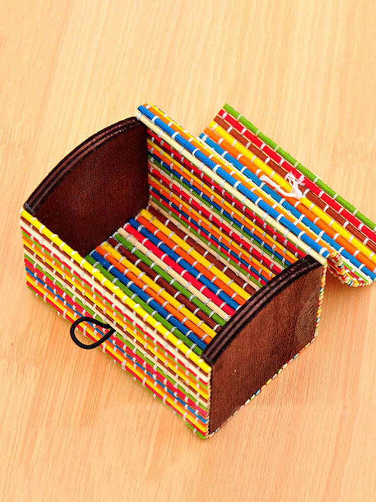 Bamboo Liubian Table Desktop Storage Box Jewelry Earring DIY Organizer