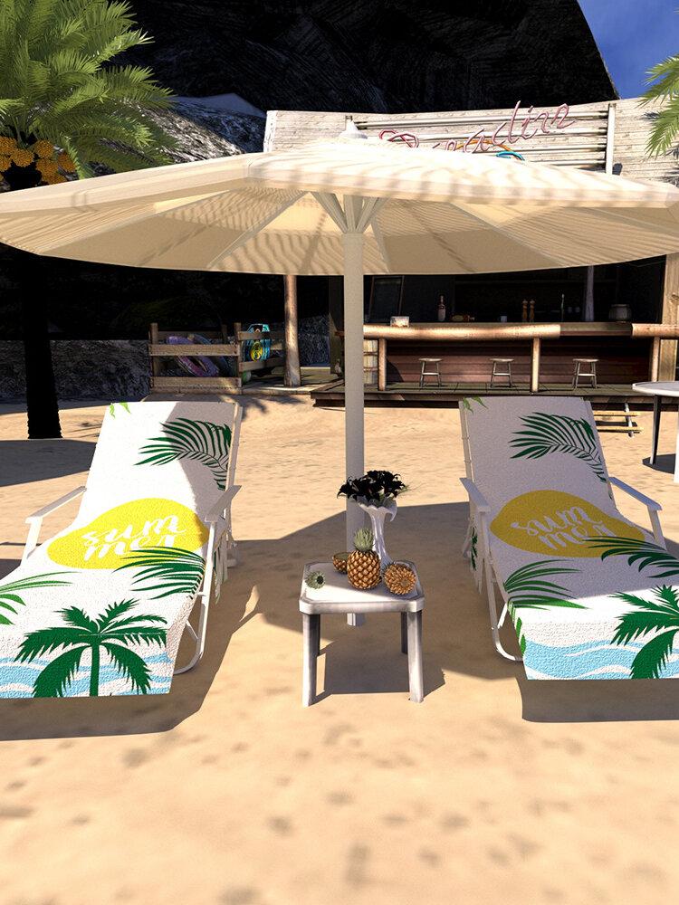 Secagem rápida Praia Toalha Capa de cadeira de microfibra Chaise Lounge Toalha Capa com bolsos laterais para Piscina Espreguiçadeira de jardim de hotel