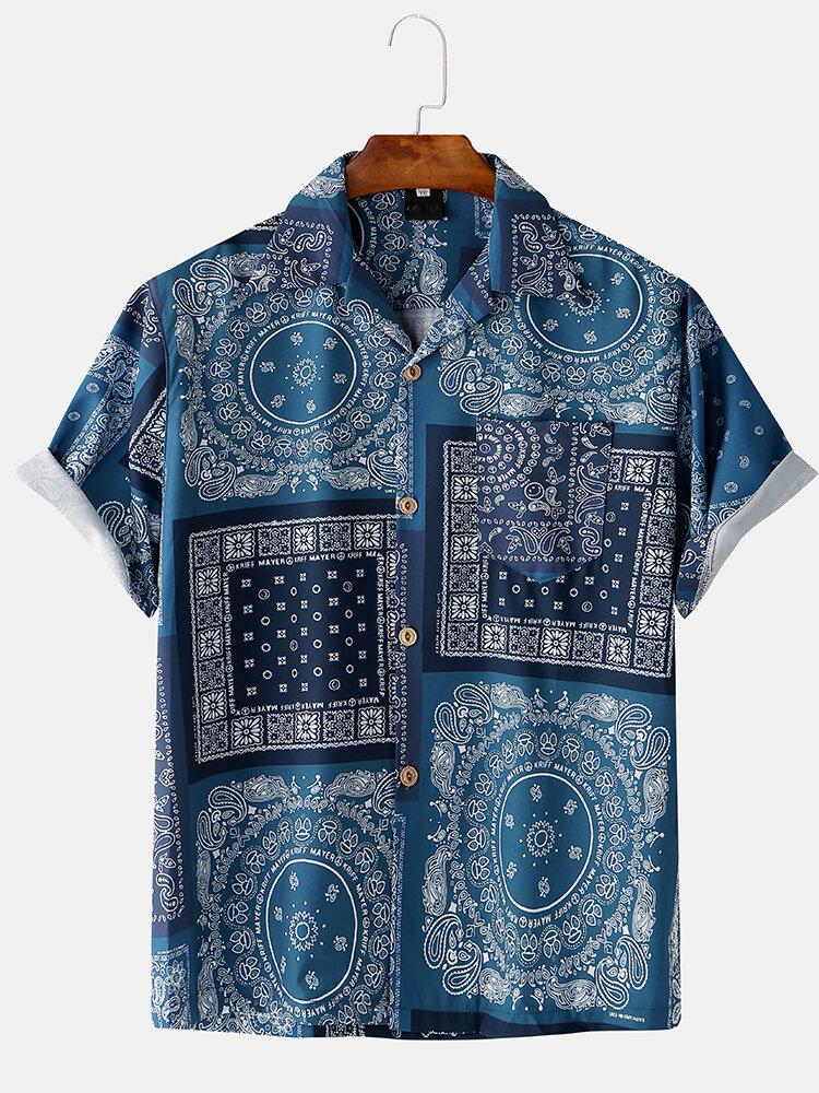 Mens Ethnic Geometric Bandana Printed Causal Short Sleeve Shirt
