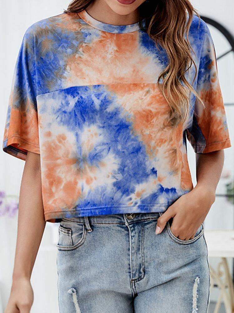 Lockeres O-Ausschnitt-T-Shirt mit halben Ärmeln und Damen T-Shirt