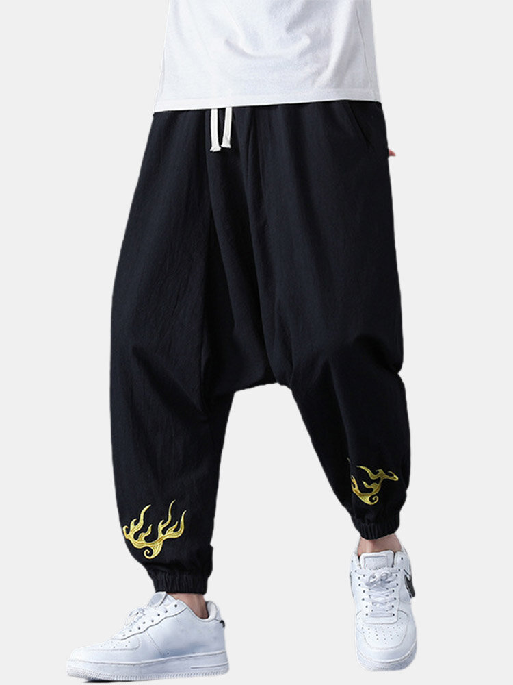 Mens Chinese Style Embroidered Cotton Drawstring Baggy Cuffed Pants