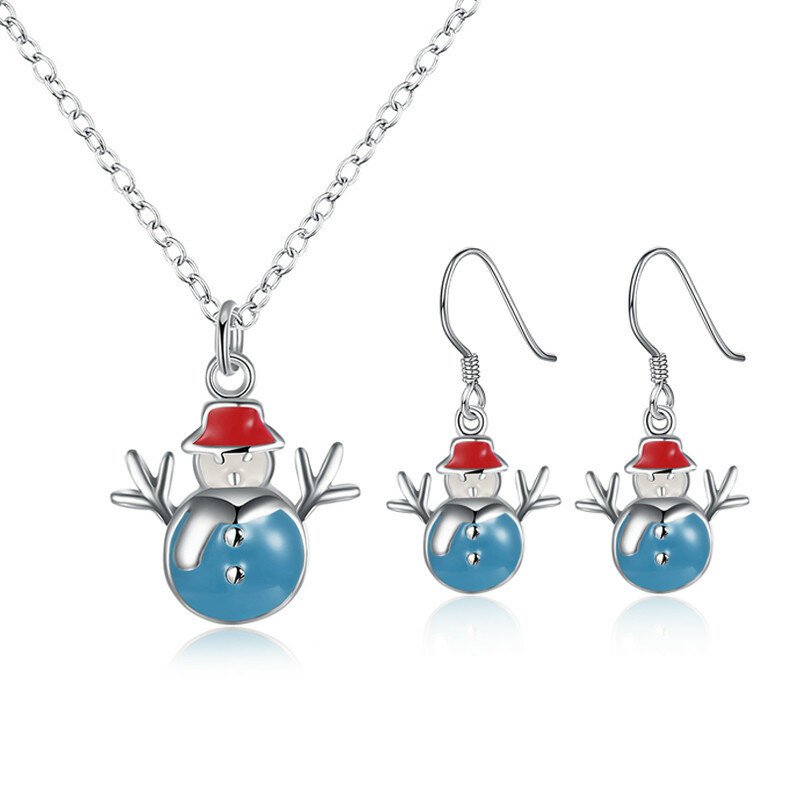 Christmas Jewelry Set Silver Plated Snowman Oil Drip Earrings Necklace Kit