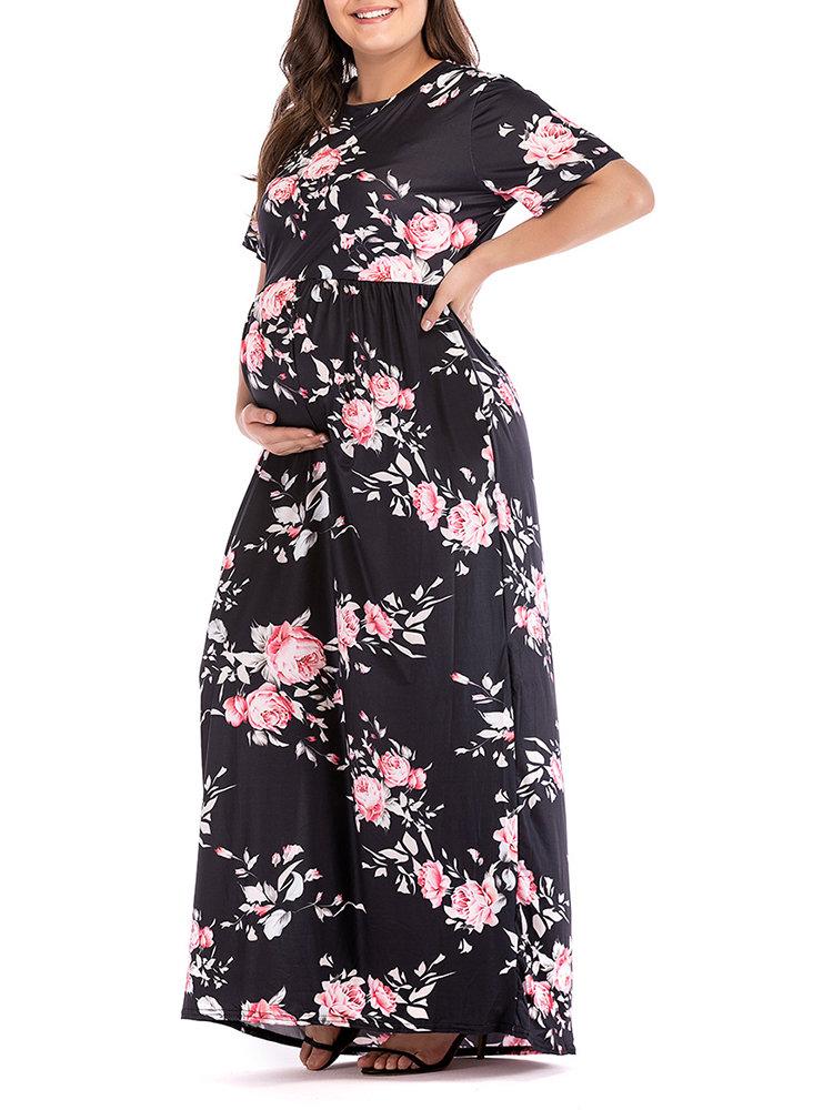 Floral Print Maternity O-Neck Long Sleeve Long Maxi Dress