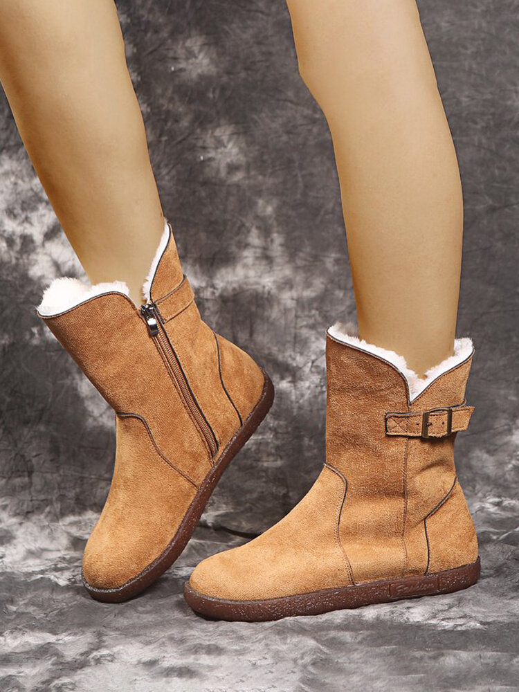Women Solid Color Casual Round Toe Side Zipper Warm Cotton Snow Short Boots