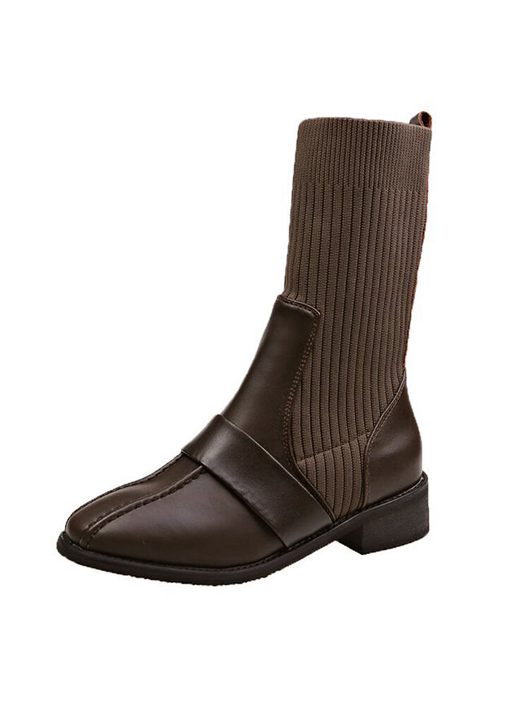 Women Breathable Knitted Leather Splicing Comfy Non Slip Fashion Motorcycle Short Sock Boots