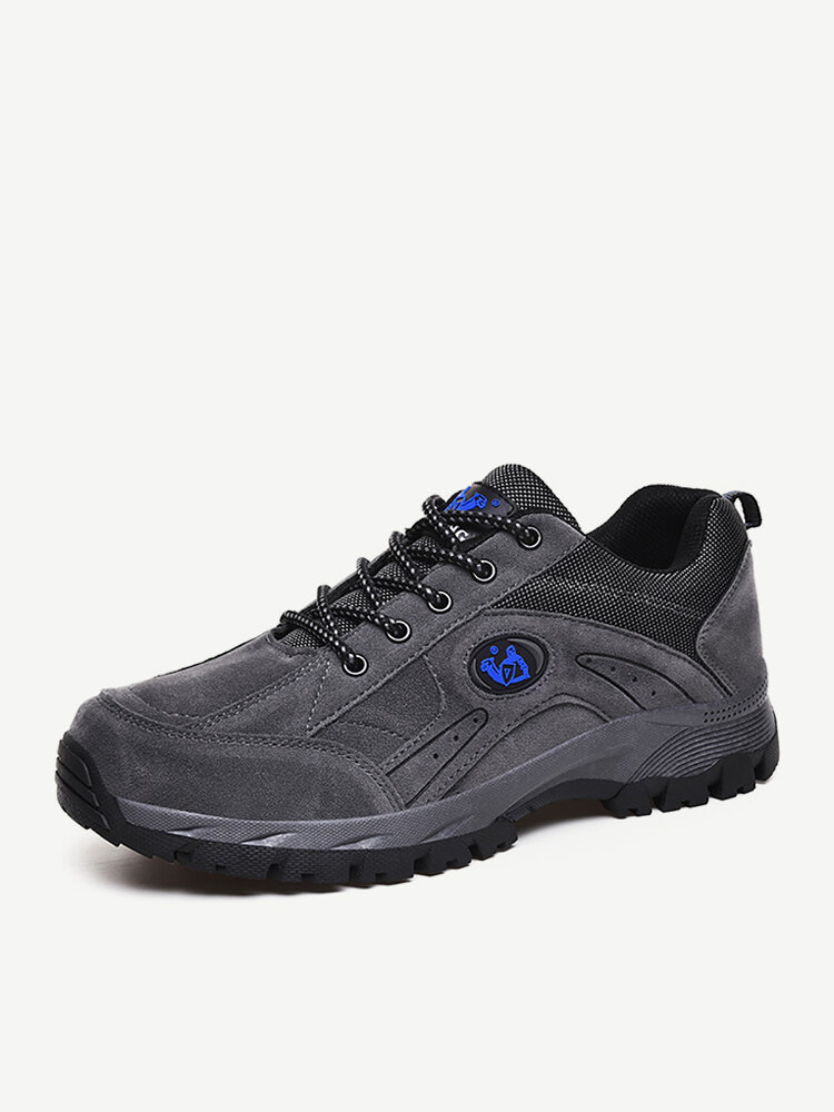 Large Size Men Outdoor Slip Resistant Lace UpClimbing Hiking Shoes