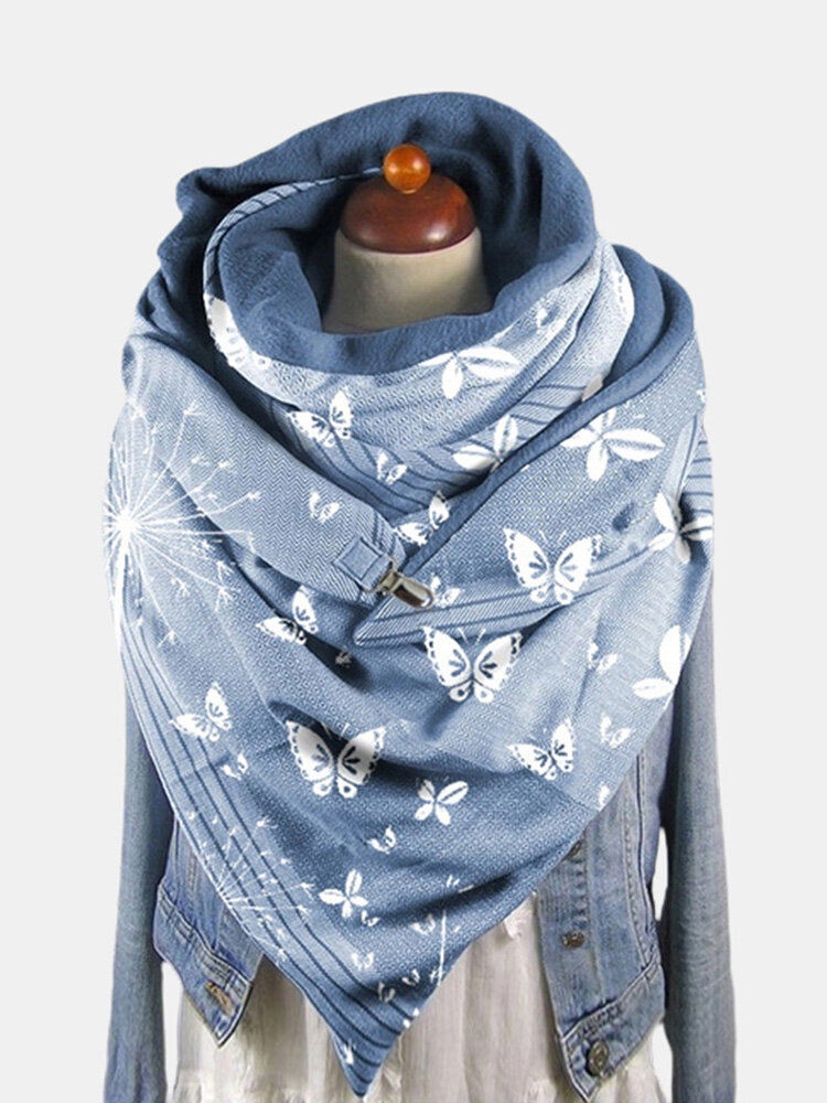 Women Dacron Butterfly Pattern Print With Buckle Casual Thicken Warmth Shawl Scarf