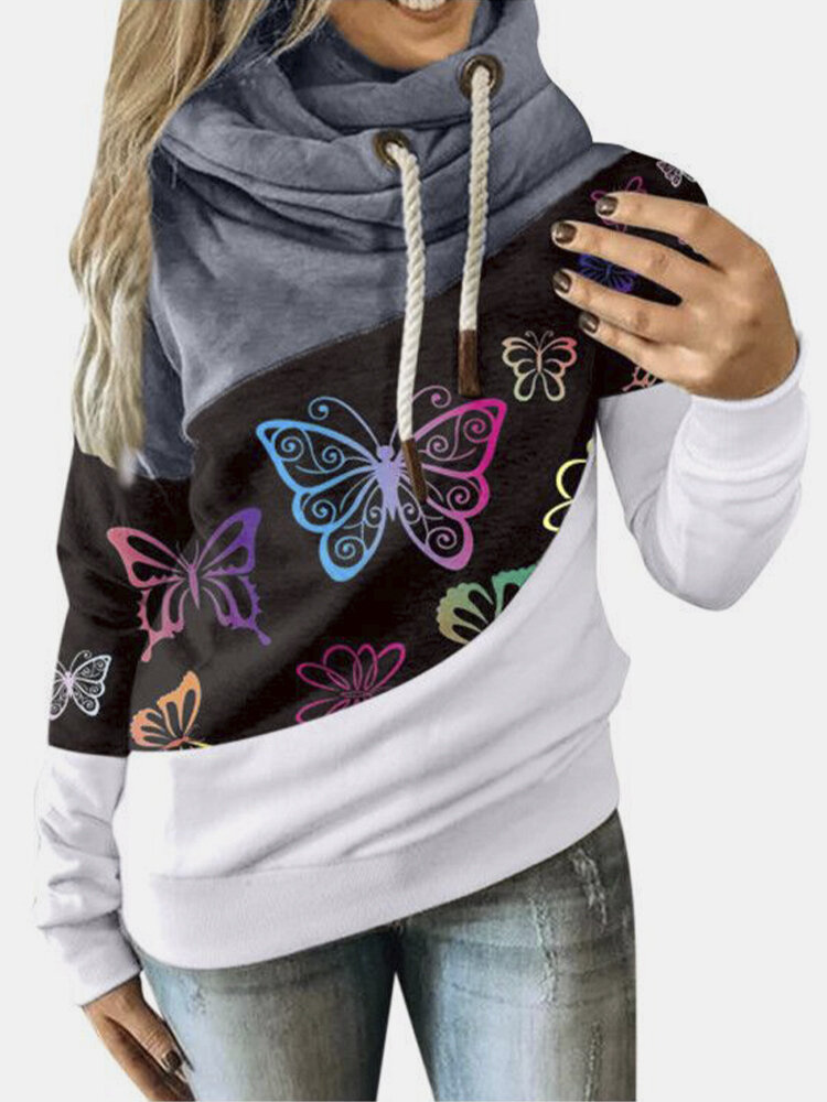 Butterfiles Print Patchwork High Neck Drawstring Plus Size Hoodie