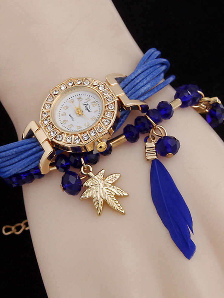 Bohemian Multilayer Bracelet Watches Owl Leaf Feather Pendant Quartz Watches for Women