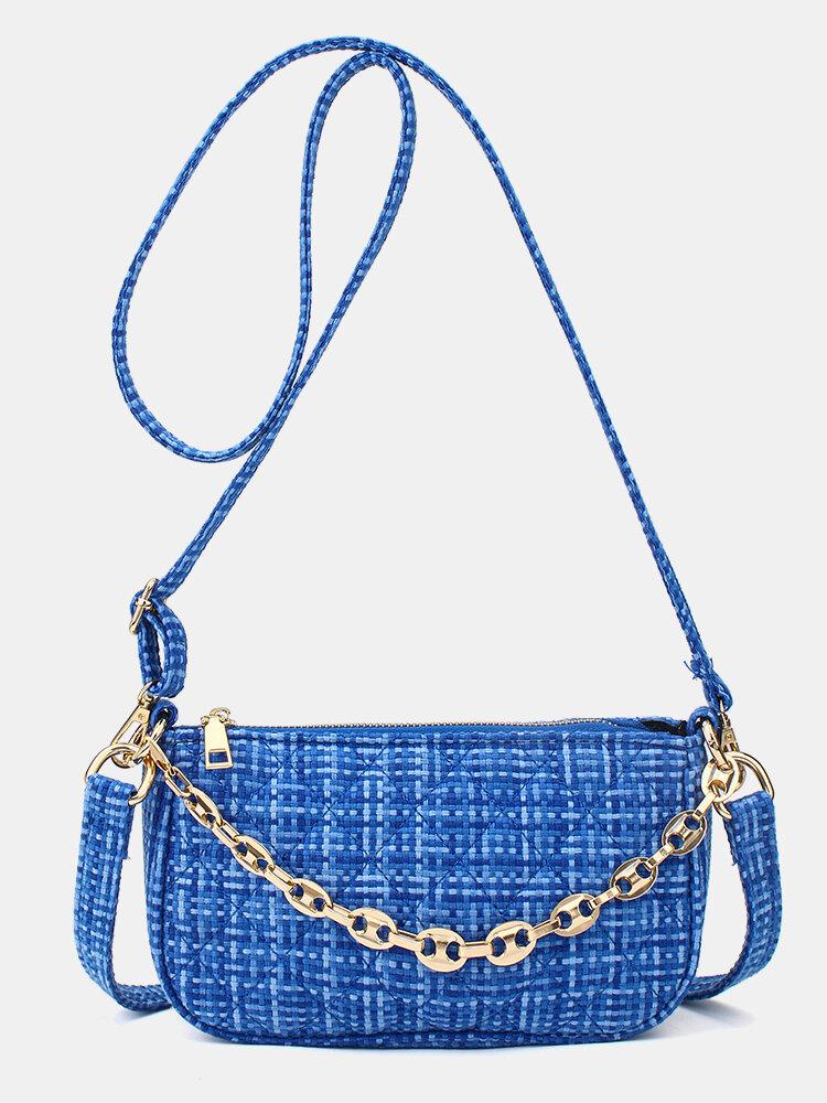 Mujer Argyle Chains Casual PU Shoulder Bolsa