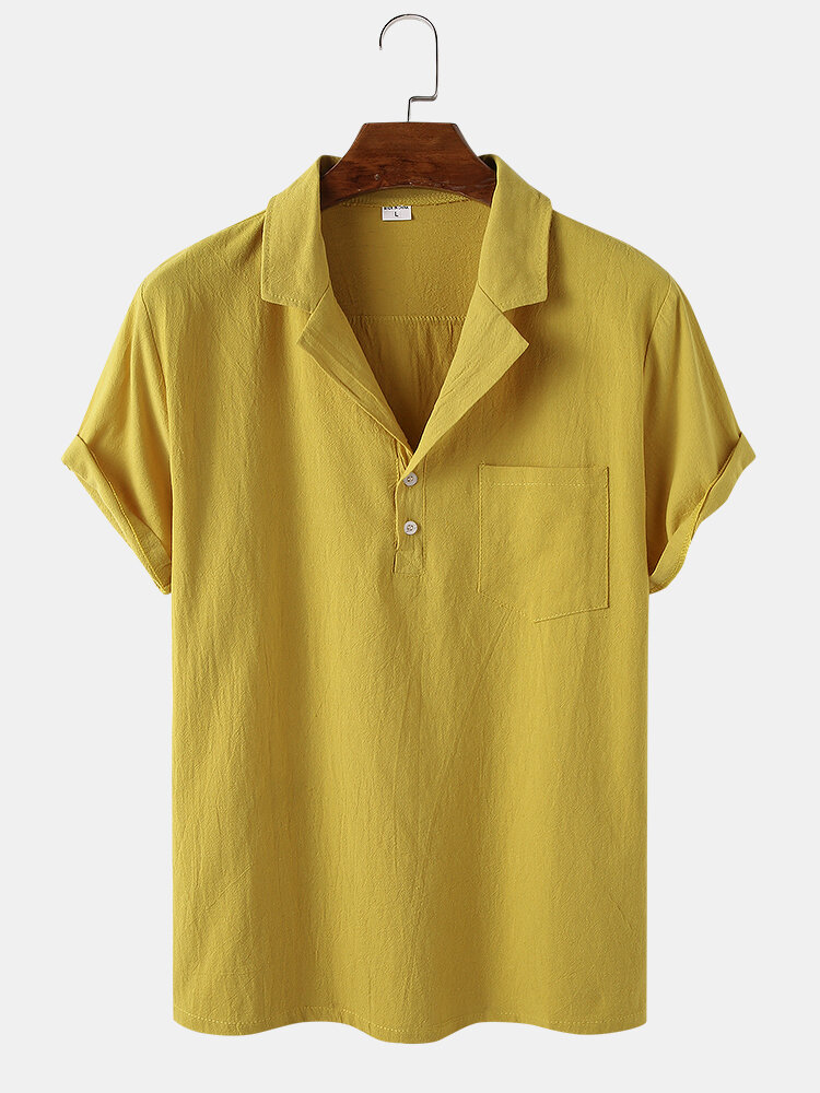 Mens Solid Color Breathable Light Chest Pocket Short Sleeve Henley Shirts