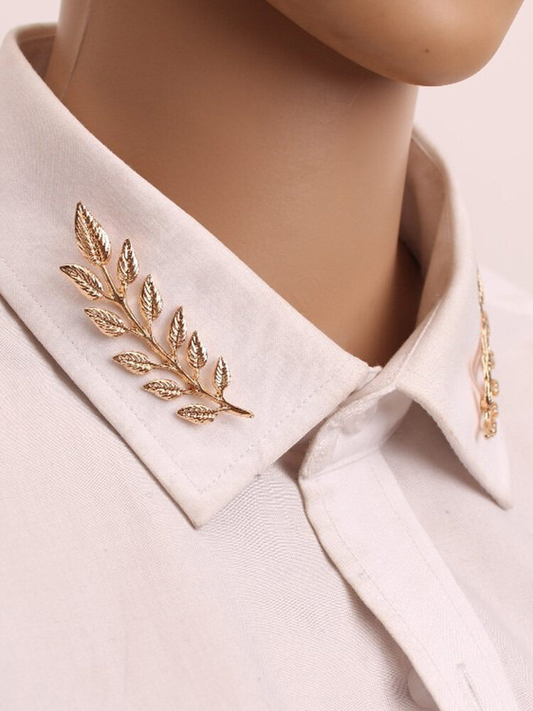Retro Gold Leaves Men Shirt Pins Vintage Style Brooches For Women