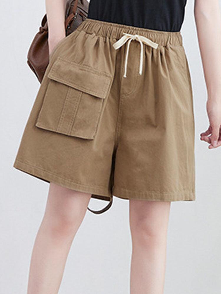 Plain Drawstring Elastic Waist Flap Pocket Wide Leg Cargo Shorts