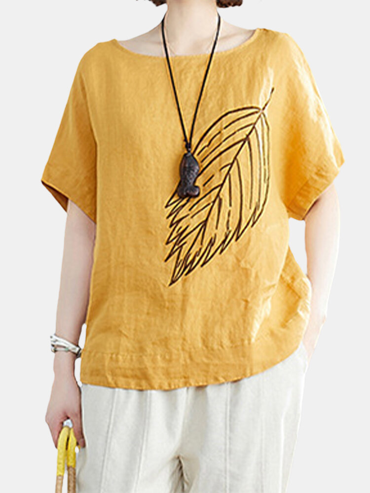 Leaf Embroidery Round Neck Short-sleeved Casual T-shirt