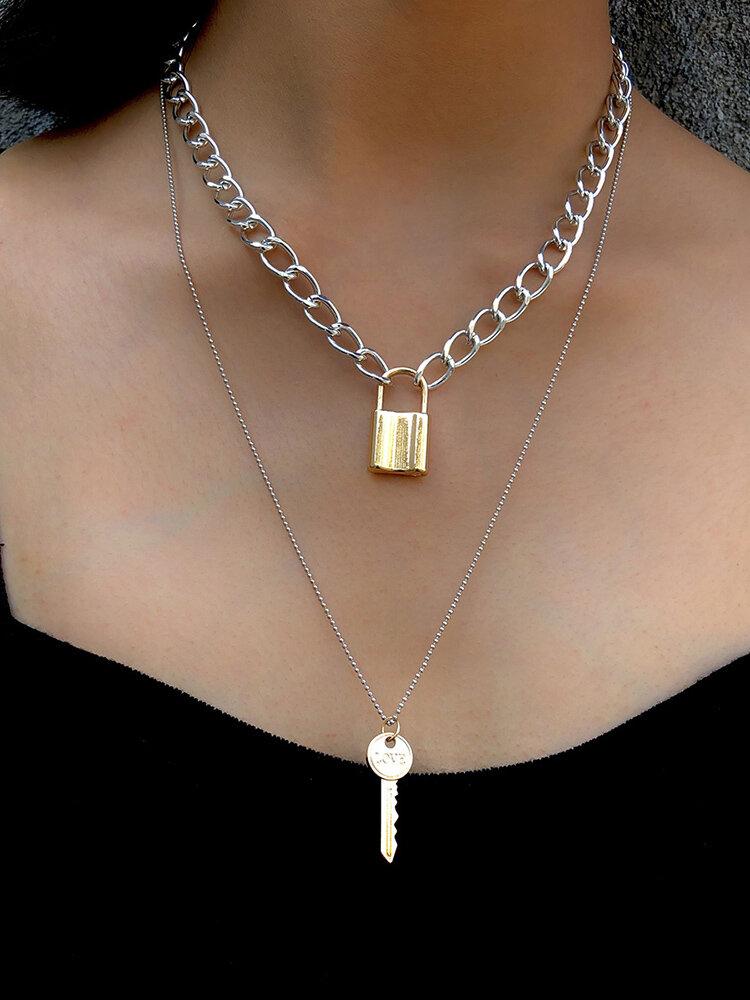 Vintage Geometric Wild Women Necklace Key Lock Pendant Necklace
