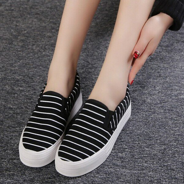 Canvas Stripe Flat Slip On Loafers