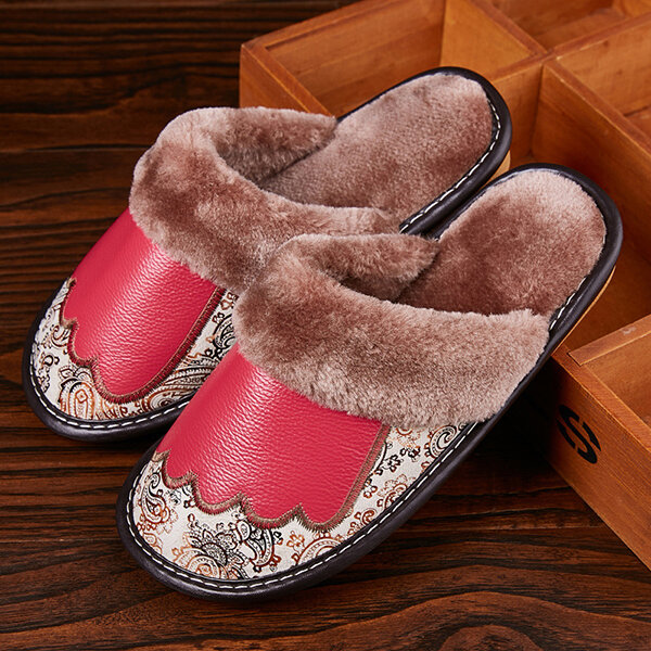 Leather Indoor Slippers Plush Home Shoes