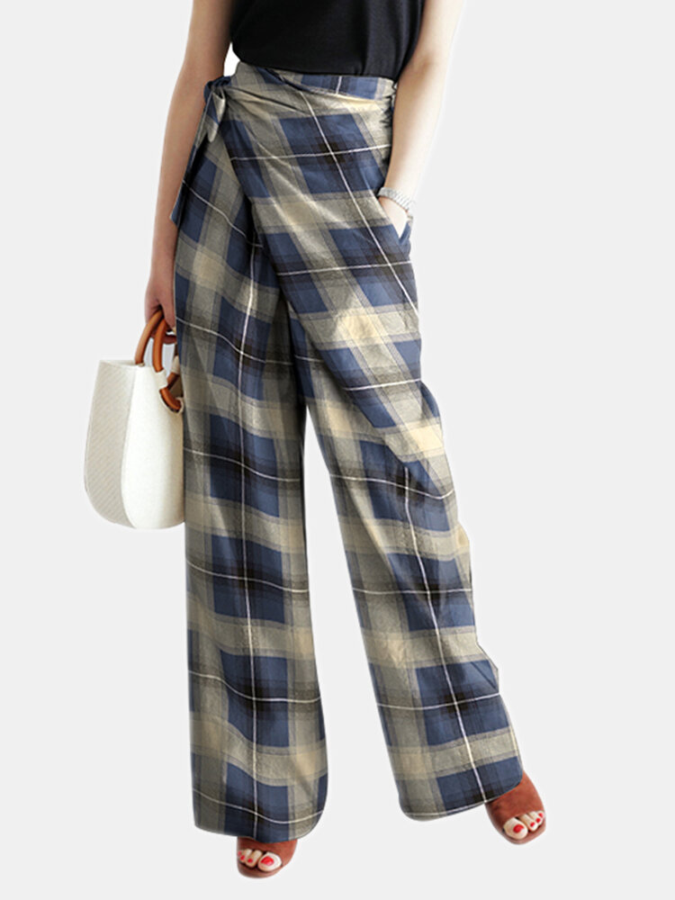 Plaid Print Knotted Asymmetrical Long Casual Pants for Women